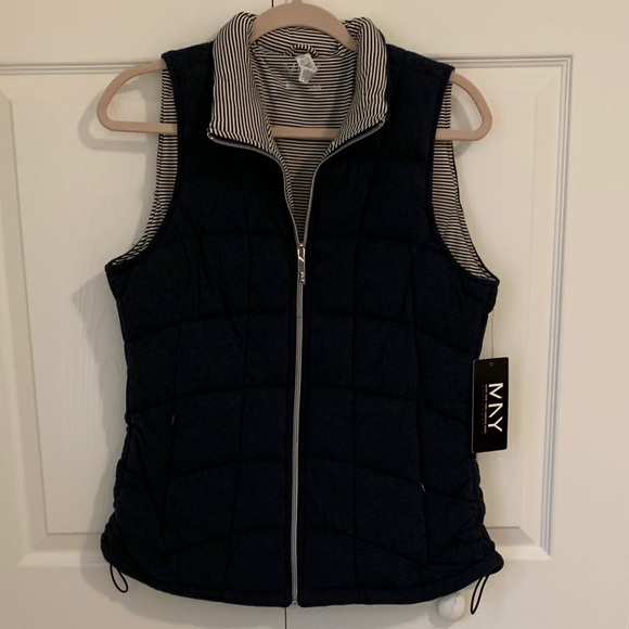 Andrew Marc Navy and striped quilted vest